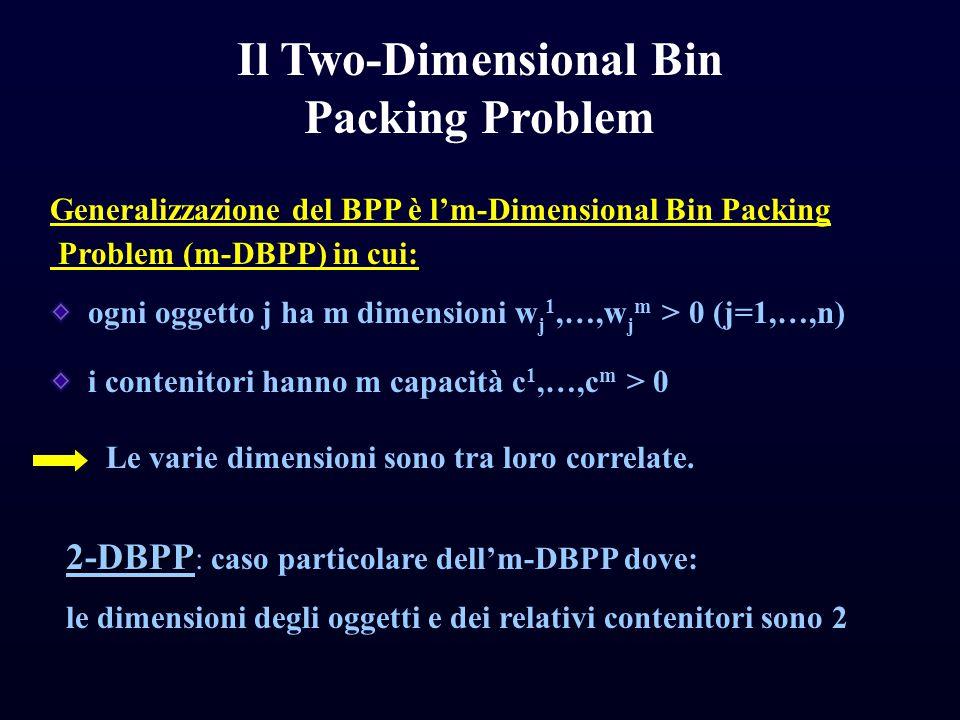 Il Two-Dimensional Bin Packing Problem Generalizzazione del BPP è l'm-Dimensional Bin Packing Problem (m-DBPP) in cui: ogni oggetto j ha m dimensioni