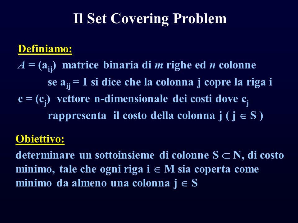 Il Set Covering Problem Definiamo: A = (a ij ) matrice binaria di m righe ed n colonne se a ij = 1 si dice che la colonna j copre la riga i c = (c j )