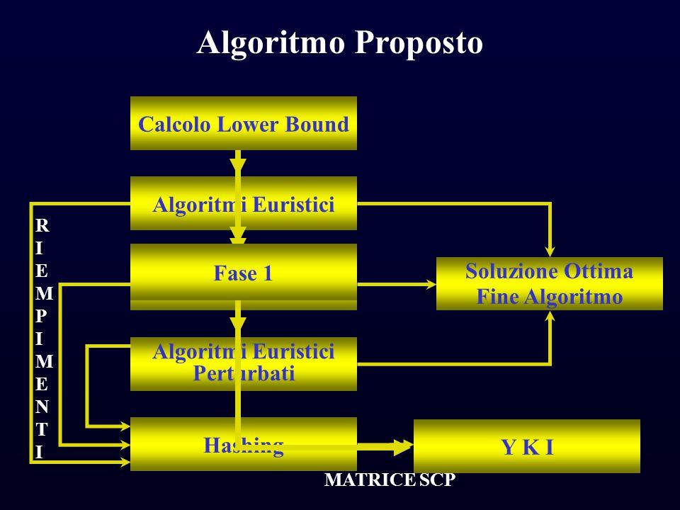 Algoritmi Euristici Algoritmo Esatto Algoritmi Euristici Perturbati Hashing Soluzione Ottima Fine Algoritmo RIEMPIMENTIRIEMPIMENTI Calcolo Lower Bound