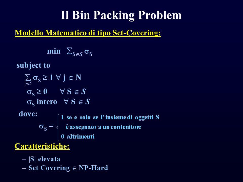 Generalizzazione del BPP è l'm-Dimensional Vector Packing Problem (m-DVPP) in cui: Il Two-Dimensional Vector Packing Problem ogni oggetto j ha m attributi w j 1,…,w j m ≥ 0 (j=1,…,n) con w j i > 0 i contenitori hanno m capacità c 1,…,c m > 0 Ogni attributo è indipendente dagli altri.