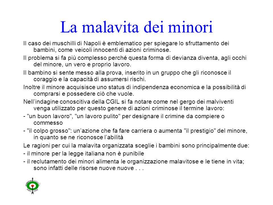 La malavita dei minori Il caso dei muschilli di Napoli è emblematico per spiegare lo sfruttamento dei bambini, come veicoli innocenti di azioni criminose.