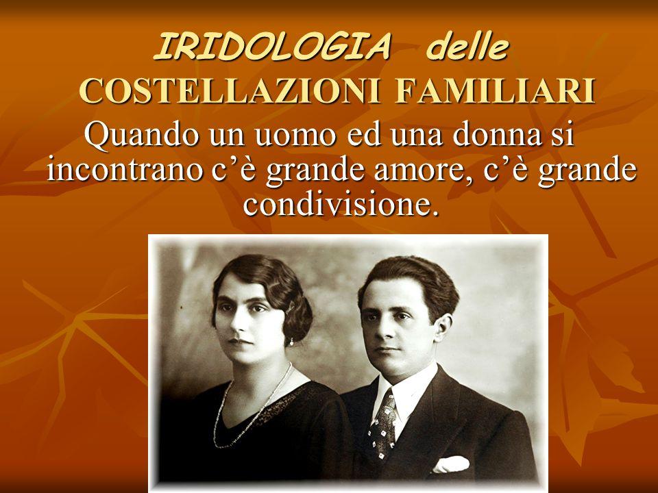 IRIDOLOGIA delle COSTELLAZIONI FAMILIARI Quando un uomo ed una donna si incontrano c'è grande amore, c'è grande condivisione.