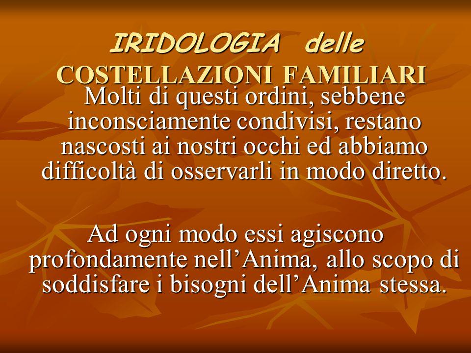 IRIDOLOGIA delle COSTELLAZIONI FAMILIARI Molti di questi ordini, sebbene inconsciamente condivisi, restano nascosti ai nostri occhi ed abbiamo diffico