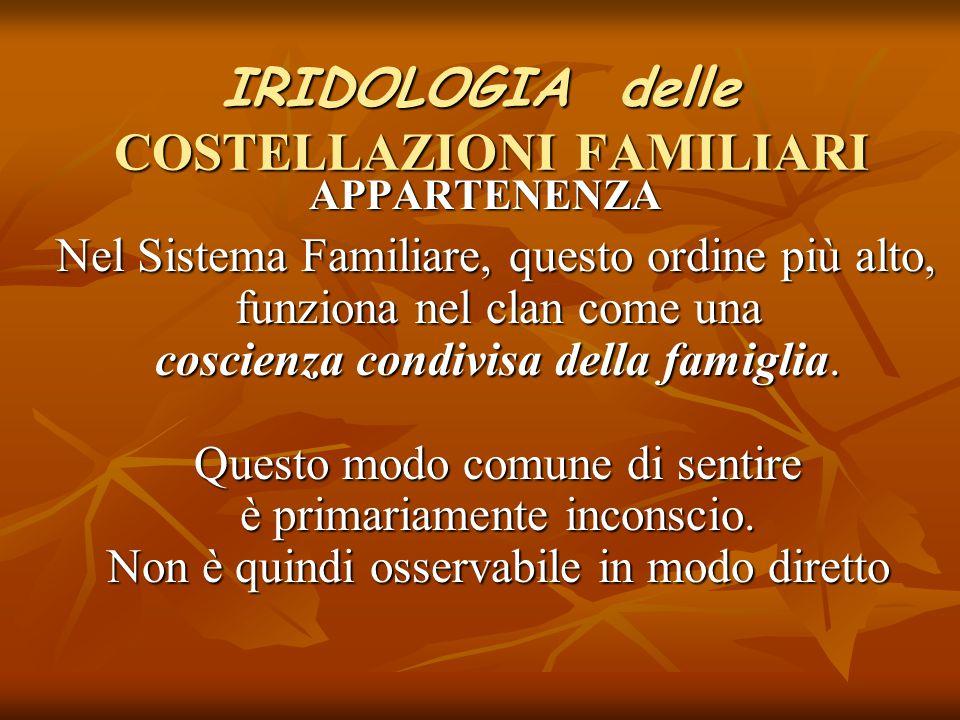 IRIDOLOGIA delle COSTELLAZIONI FAMILIARI APPARTENENZA APPARTENENZA Nel Sistema Familiare, questo ordine più alto, funziona nel clan come una coscienza