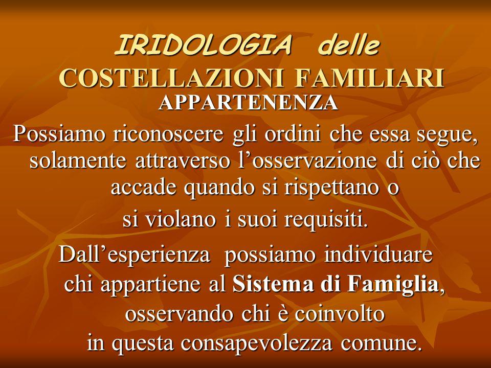 IRIDOLOGIA delle COSTELLAZIONI FAMILIARI APPARTENENZA APPARTENENZA Possiamo riconoscere gli ordini che essa segue, solamente attraverso l'osservazione