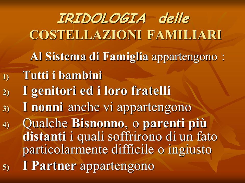 IRIDOLOGIA delle COSTELLAZIONI FAMILIARI Al Sistema di Famiglia appartengono : Al Sistema di Famiglia appartengono : 1) Tutti i bambini 2) I genitori
