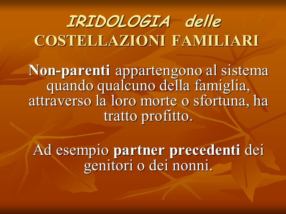 IRIDOLOGIA delle COSTELLAZIONI FAMILIARI Non-parenti appartengono al sistema quando qualcuno della famiglia, attraverso la loro morte o sfortuna, ha t