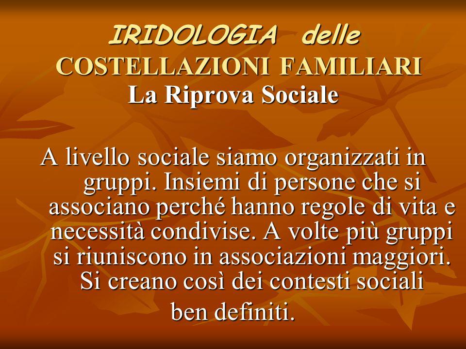 IRIDOLOGIA delle COSTELLAZIONI FAMILIARI La Riprova Sociale A livello sociale siamo organizzati in gruppi. Insiemi di persone che si associano perché