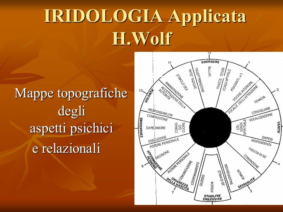 IRIDOLOGIA Applicata H.Wolf IRIDOLOGIA Applicata H.Wolf Mappe topografiche degli aspetti psichici Mappe topografiche degli aspetti psichici e relazion