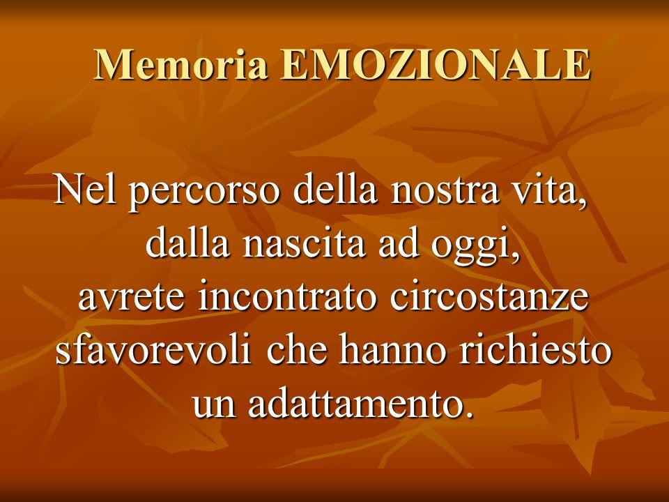 Memoria EMOZIONALE Memoria EMOZIONALE Nel percorso della nostra vita, dalla nascita ad oggi, avrete incontrato circostanze sfavorevoli che hanno richi