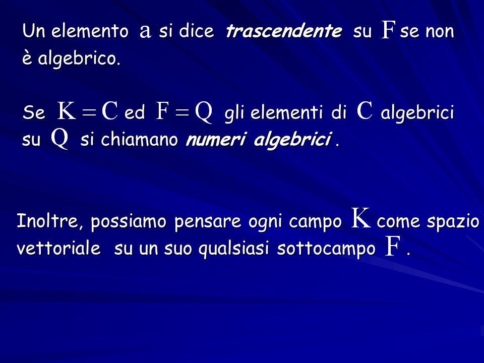 Un elemento si dice trascendente su se non Un elemento si dice trascendente su se non è algebrico. è algebrico. Se ed gli elementi di algebrici Se ed