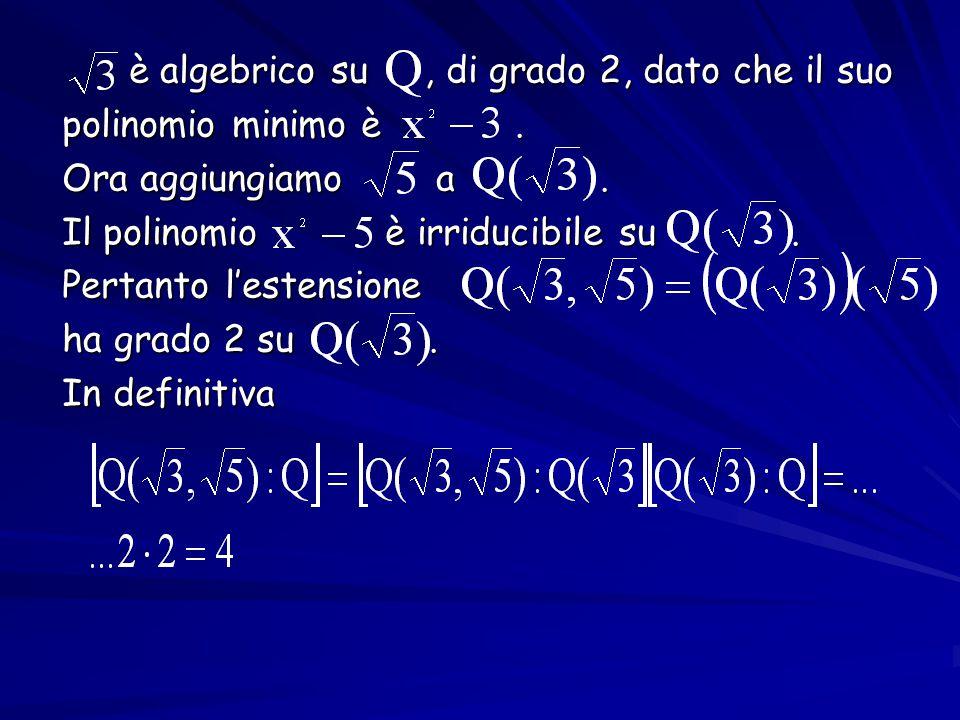 è algebrico su, di grado 2, dato che il suo è algebrico su, di grado 2, dato che il suo polinomio minimo è. polinomio minimo è. Ora aggiungiamo a. Ora