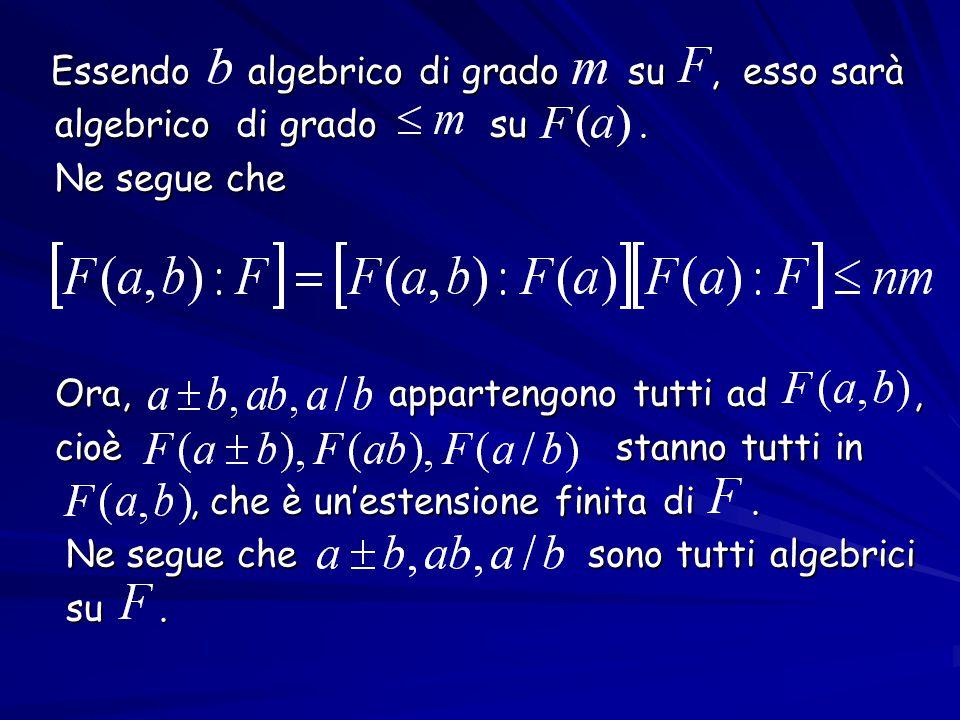 Essendo algebrico di grado su, esso sarà Essendo algebrico di grado su, esso sarà algebrico di grado su. algebrico di grado su. Ne segue che Ne segue