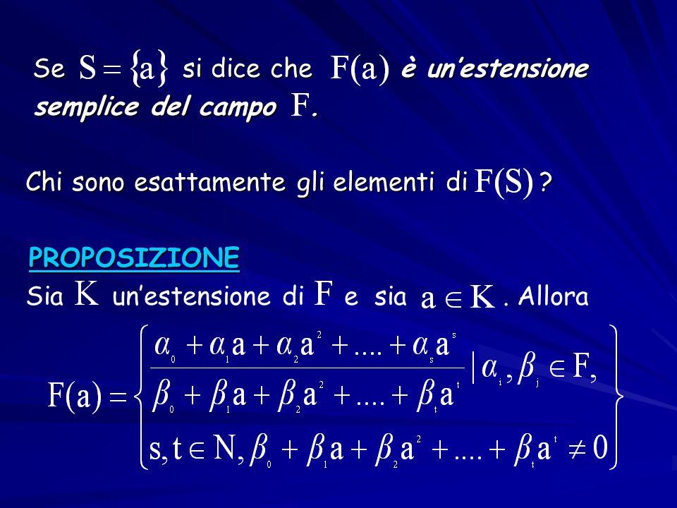 Se si dice che è un'estensione Se si dice che è un'estensione semplice del campo. semplice del campo. Chi sono esattamente gli elementi di ? Chi sono