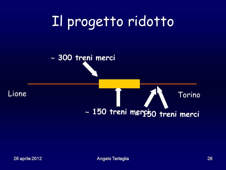 26 aprile 2012Angelo Tartaglia26 Il progetto ridotto Lione Torino  150 treni merci  300 treni merci  150 treni merci