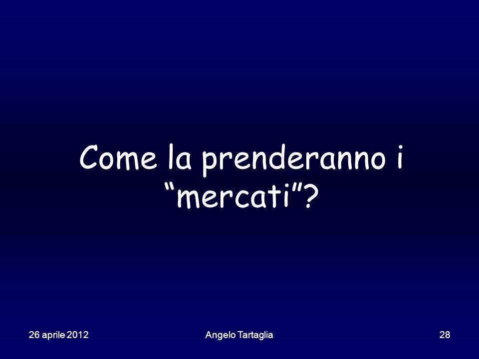 26 aprile 2012Angelo Tartaglia28 Come la prenderanno i mercati ?