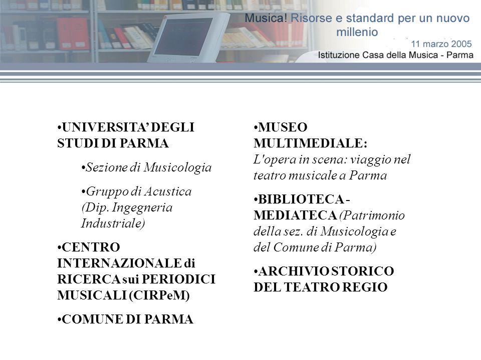 MUSEO MULTIMEDIALE: L'opera in scena: viaggio nel teatro musicale a Parma BIBLIOTECA - MEDIATECA (Patrimonio della sez. di Musicologia e del Comune di