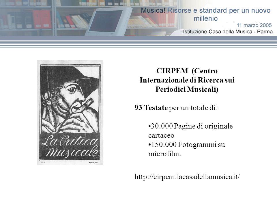 CIRPEM (Centro Internazionale di Ricerca sui Periodici Musicali) 93 Testate per un totale di: 30.000 Pagine di originale cartaceo 150.000 Fotogrammi su microfilm.