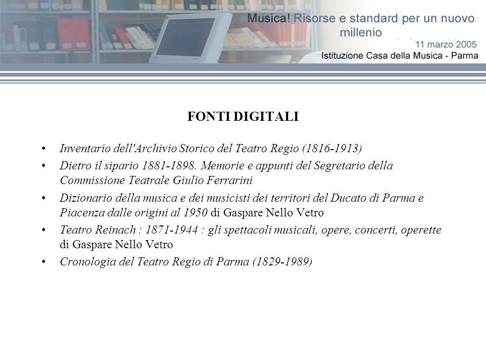 FONTI DIGITALI Inventario dell'Archivio Storico del Teatro Regio (1816-1913) Dietro il sipario 1881-1898. Memorie e appunti del Segretario della Commi