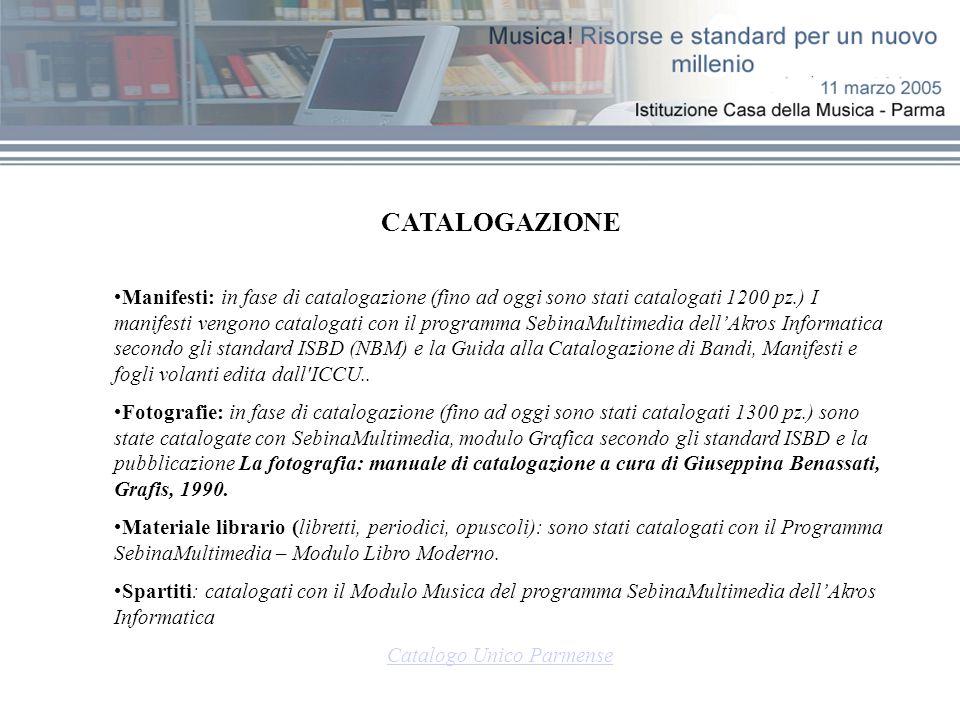 Database Casa della Musica Indicazioni sul posseduto (per alcuni tipi di materiali) Informazioni biografiche Cronologia del Teatro Regio Esecuzione materiale multimediale (solo in locale)