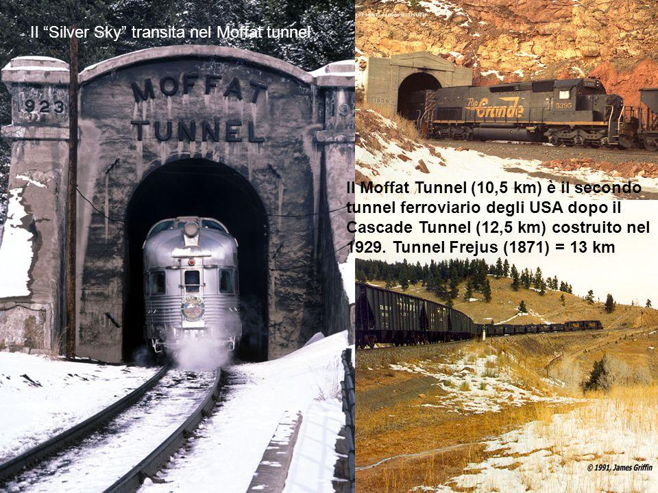 """Il """"Silver Sky"""" transita nel Moffat tunnel Il Moffat Tunnel (10,5 km) è il secondo tunnel ferroviario degli USA dopo il Cascade Tunnel (12,5 km) costr"""