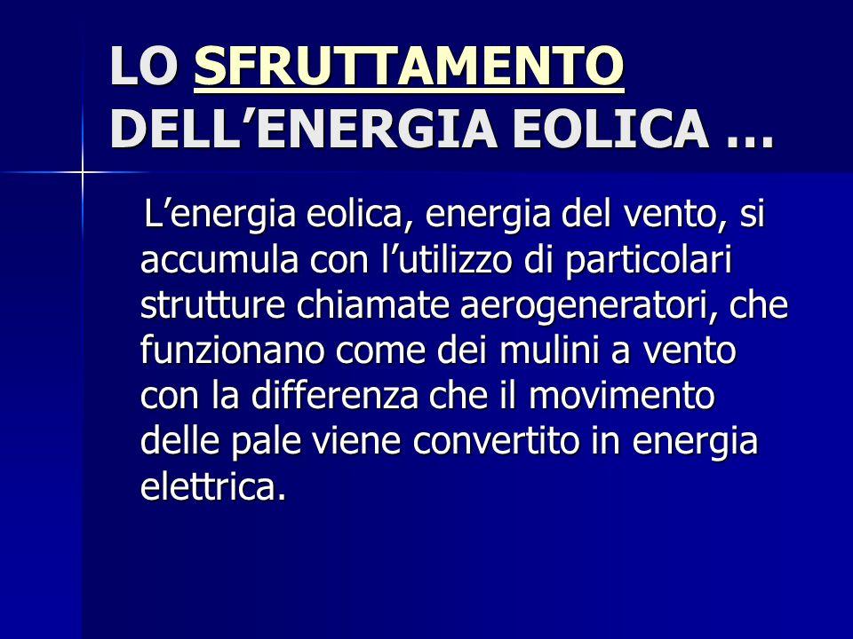 LO SFRUTTAMENTO DELL'ENERGIA EOLICA … SFRUTTAMENTO L'energia eolica, energia del vento, si accumula con l'utilizzo di particolari strutture chiamate a