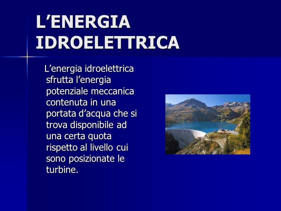 L'ENERGIA IDROELETTRICA L'energia idroelettrica sfrutta l'energia potenziale meccanica contenuta in una portata d'acqua che si trova disponibile ad un