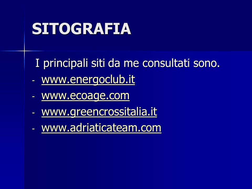 SITOGRAFIA I principali siti da me consultati sono. I principali siti da me consultati sono. - www.energoclub.it www.energoclub.it - www.ecoage.com ww