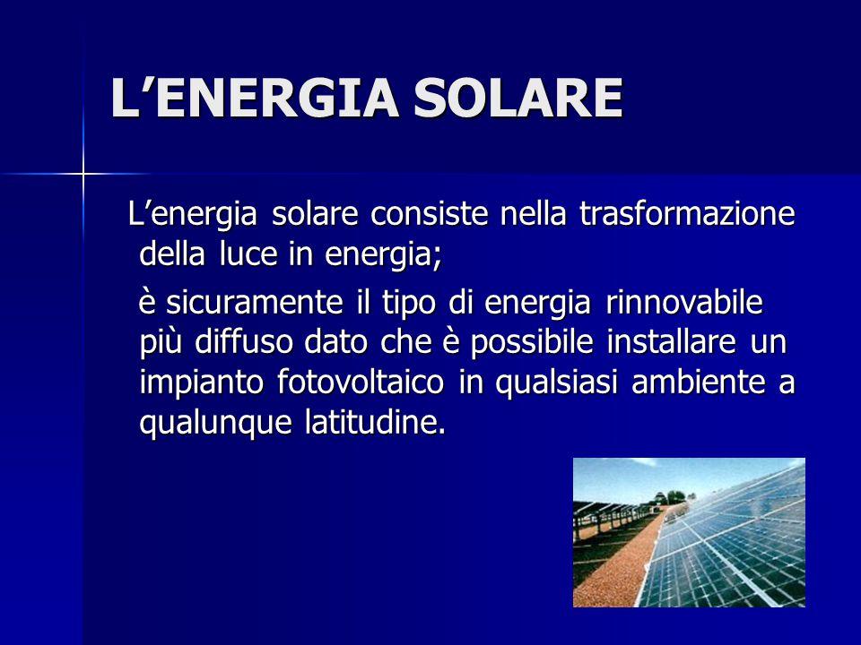 L'ENERGIA SOLARE L'energia solare consiste nella trasformazione della luce in energia; L'energia solare consiste nella trasformazione della luce in en