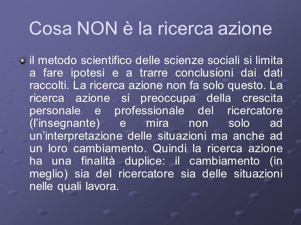 Cosa NON è la ricerca azione il metodo scientifico delle scienze sociali si limita a fare ipotesi e a trarre conclusioni dai dati raccolti.