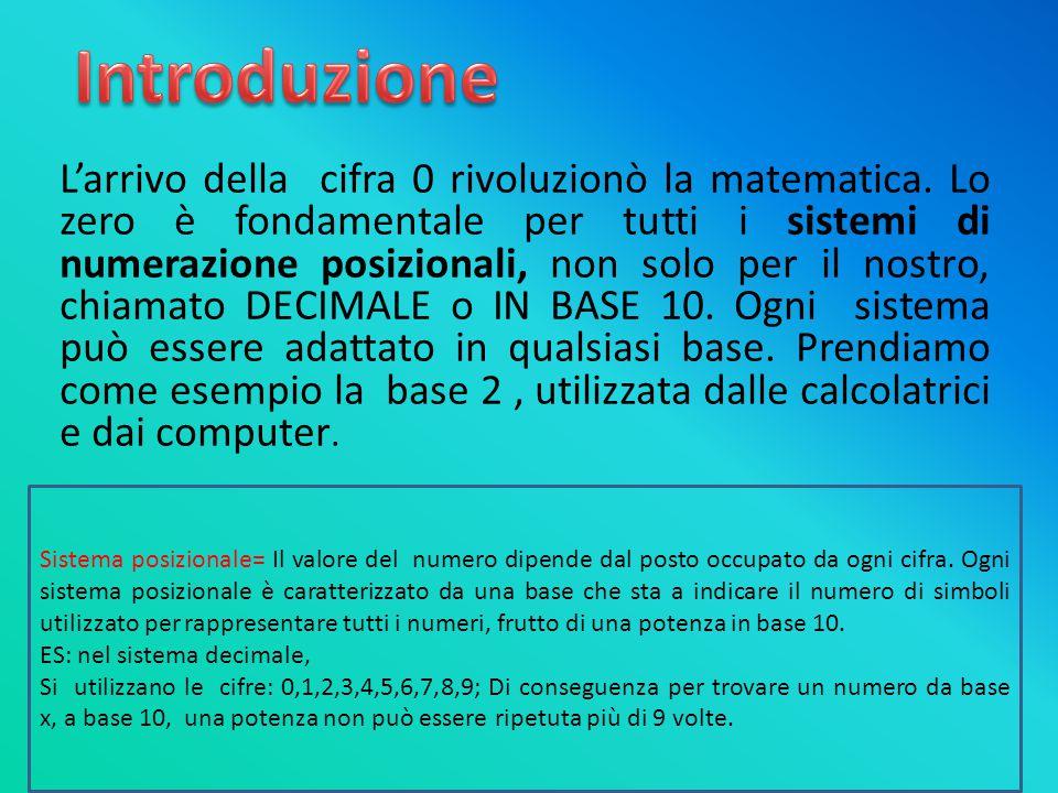 L'arrivo della cifra 0 rivoluzionò la matematica. Lo zero è fondamentale per tutti i sistemi di numerazione posizionali, non solo per il nostro, chiam