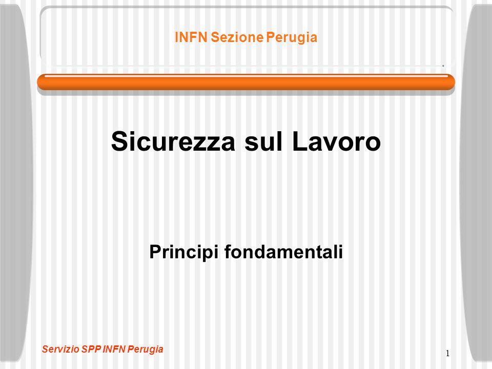 1 INFN Sezione Perugia Sicurezza sul Lavoro Principi fondamentali Servizio SPP INFN Perugia