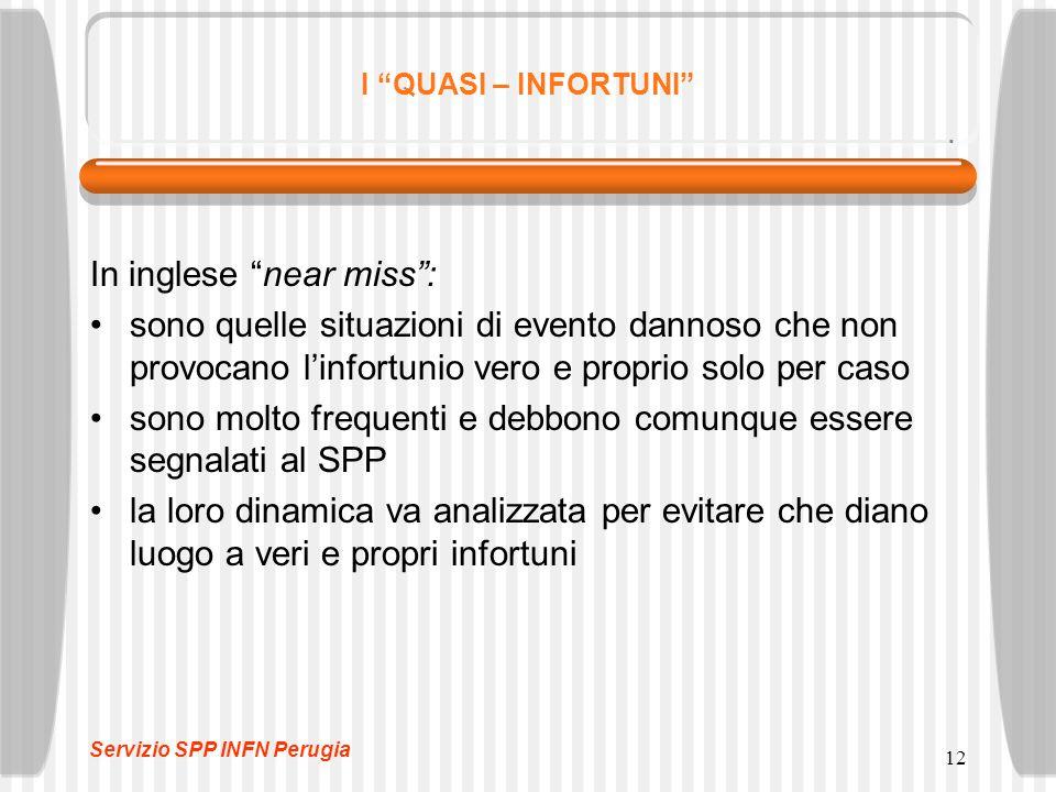 """12 I """"QUASI – INFORTUNI"""" In inglese """"near miss"""": sono quelle situazioni di evento dannoso che non provocano l'infortunio vero e proprio solo per caso"""