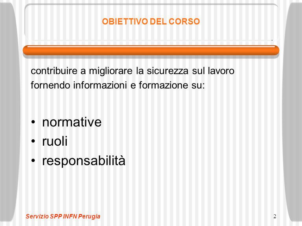 2 OBIETTIVO DEL CORSO contribuire a migliorare la sicurezza sul lavoro fornendo informazioni e formazione su: normative ruoli responsabilità Servizio SPP INFN Perugia
