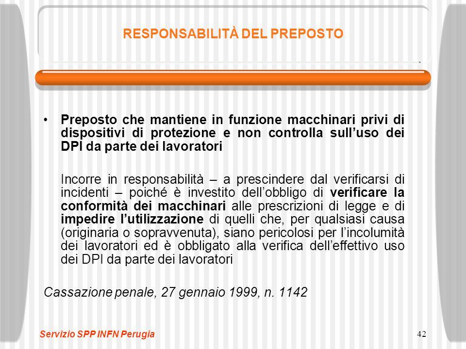 42 RESPONSABILITÀ DEL PREPOSTO Preposto che mantiene in funzione macchinari privi di dispositivi di protezione e non controlla sull'uso dei DPI da par