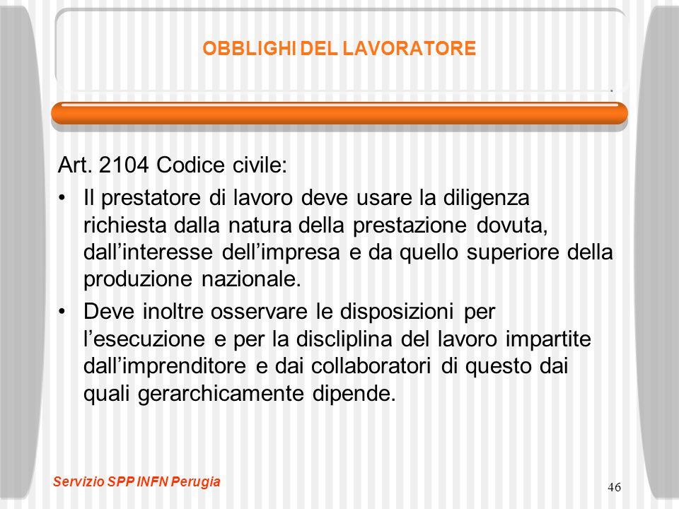 46 OBBLIGHI DEL LAVORATORE Art. 2104 Codice civile: Il prestatore di lavoro deve usare la diligenza richiesta dalla natura della prestazione dovuta, d