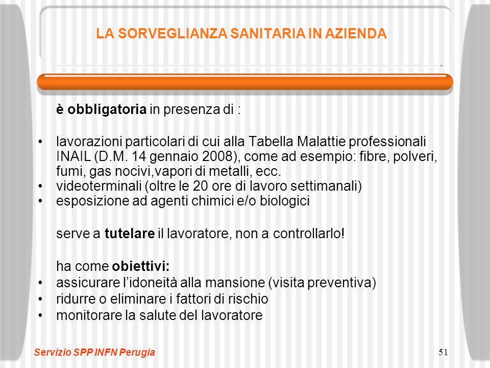 51 LA SORVEGLIANZA SANITARIA IN AZIENDA è obbligatoria in presenza di : lavorazioni particolari di cui alla Tabella Malattie professionali INAIL (D.M.