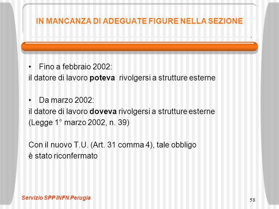 58 IN MANCANZA DI ADEGUATE FIGURE NELLA SEZIONE Fino a febbraio 2002: il datore di lavoro poteva rivolgersi a strutture esterne Da marzo 2002: il datore di lavoro doveva rivolgersi a strutture esterne (Legge 1° marzo 2002, n.