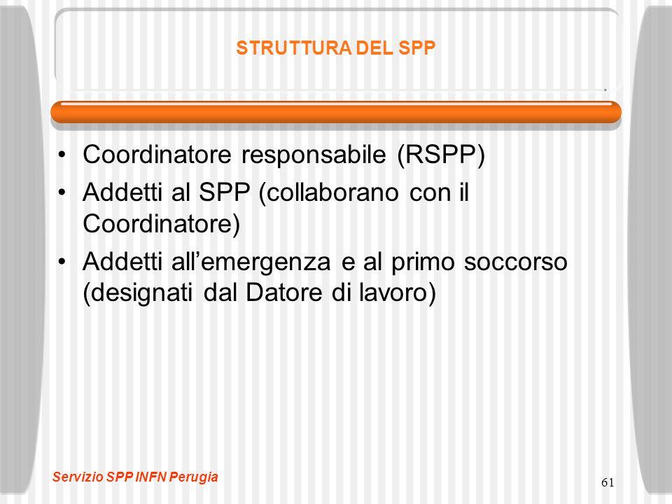 61 STRUTTURA DEL SPP Coordinatore responsabile (RSPP) Addetti al SPP (collaborano con il Coordinatore) Addetti all'emergenza e al primo soccorso (designati dal Datore di lavoro) Servizio SPP INFN Perugia