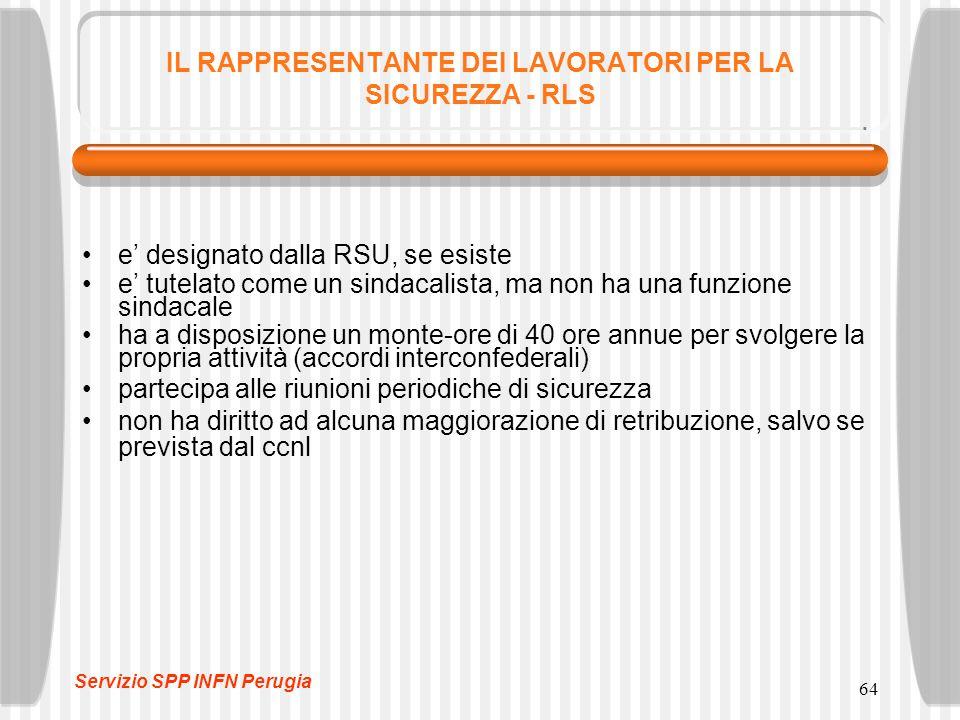 64 IL RAPPRESENTANTE DEI LAVORATORI PER LA SICUREZZA - RLS e' designato dalla RSU, se esiste e' tutelato come un sindacalista, ma non ha una funzione