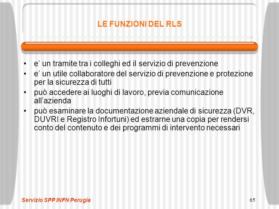 65 LE FUNZIONI DEL RLS e' un tramite tra i colleghi ed il servizio di prevenzione e' un utile collaboratore del servizio di prevenzione e protezione p