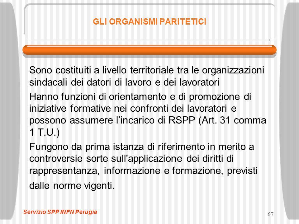 67 GLI ORGANISMI PARITETICI Sono costituiti a livello territoriale tra le organizzazioni sindacali dei datori di lavoro e dei lavoratori Hanno funzioni di orientamento e di promozione di iniziative formative nei confronti dei lavoratori e possono assumere l'incarico di RSPP (Art.