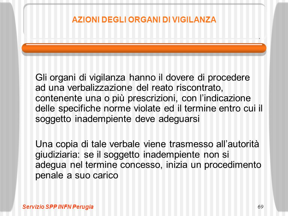 69 AZIONI DEGLI ORGANI DI VIGILANZA Gli organi di vigilanza hanno il dovere di procedere ad una verbalizzazione del reato riscontrato, contenente una