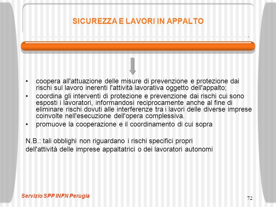 72 SICUREZZA E LAVORI IN APPALTO coopera all'attuazione delle misure di prevenzione e protezione dai rischi sul lavoro inerenti l'attività lavorativa