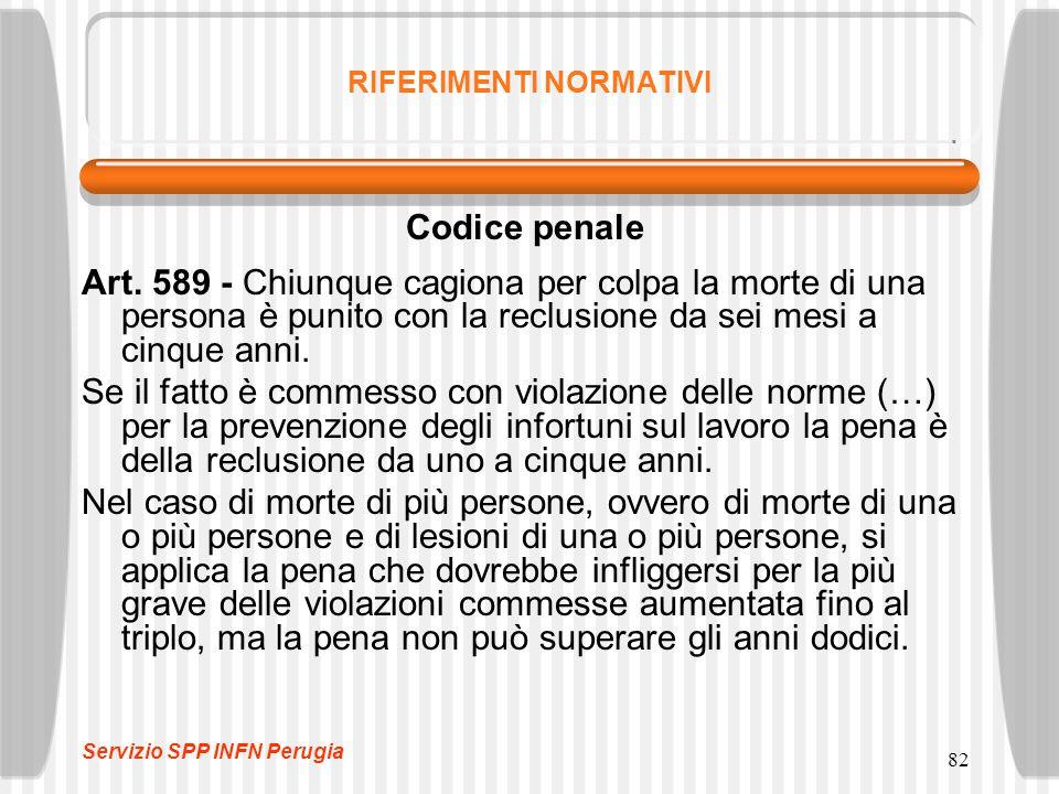 82 RIFERIMENTI NORMATIVI Codice penale Art. 589 - Chiunque cagiona per colpa la morte di una persona è punito con la reclusione da sei mesi a cinque a