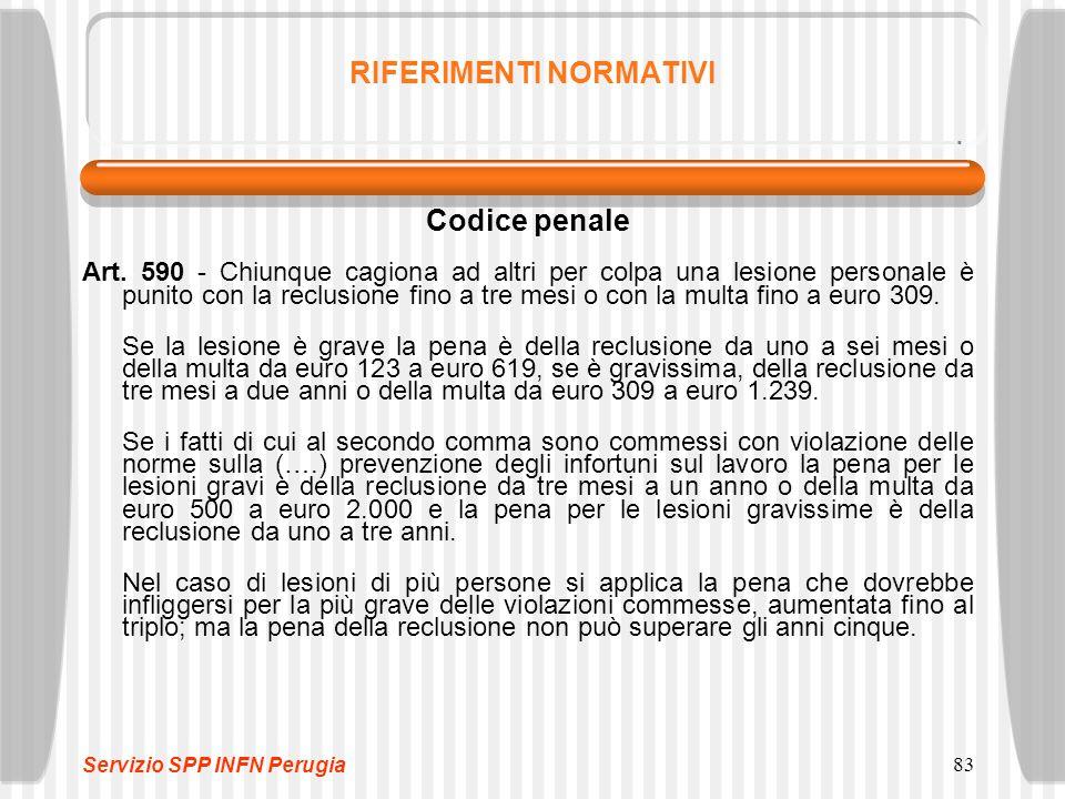 83 RIFERIMENTI NORMATIVI Codice penale Art. 590 - Chiunque cagiona ad altri per colpa una lesione personale è punito con la reclusione fino a tre mesi