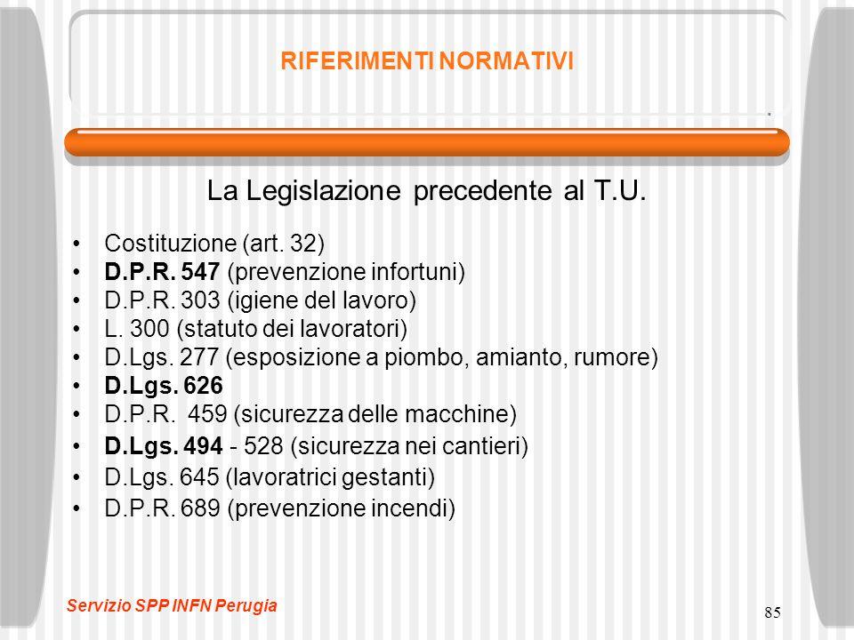 85 RIFERIMENTI NORMATIVI La Legislazione precedente al T.U. Costituzione (art. 32) D.P.R. 547 (prevenzione infortuni) D.P.R. 303 (igiene del lavoro) L