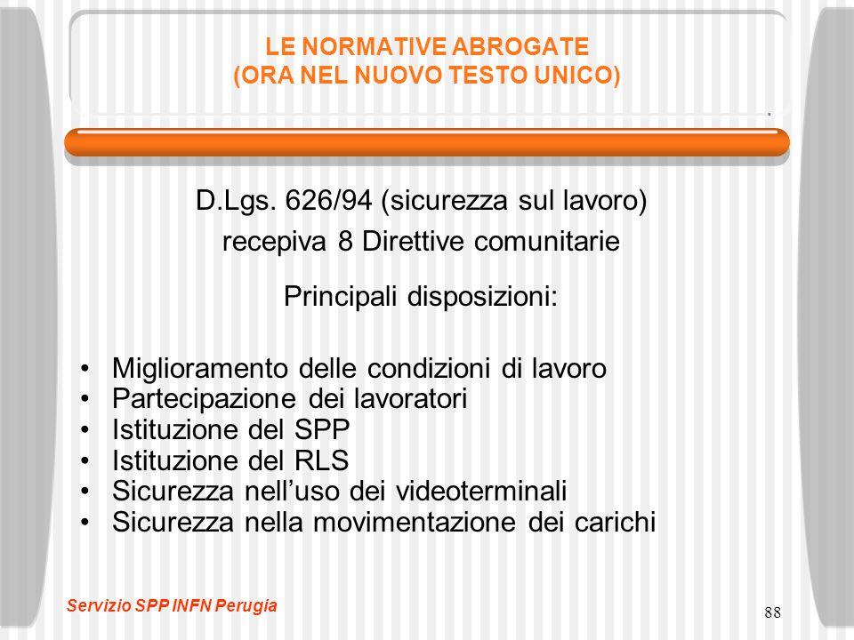 88 LE NORMATIVE ABROGATE (ORA NEL NUOVO TESTO UNICO) D.Lgs.