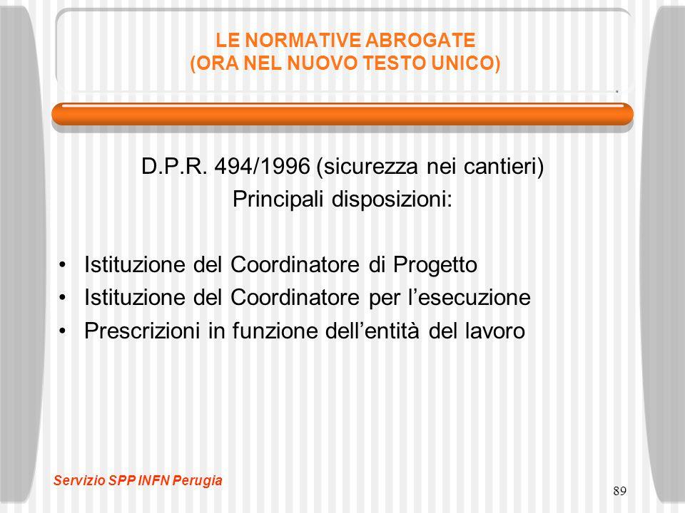 89 LE NORMATIVE ABROGATE (ORA NEL NUOVO TESTO UNICO) D.P.R. 494/1996 (sicurezza nei cantieri) Principali disposizioni: Istituzione del Coordinatore di