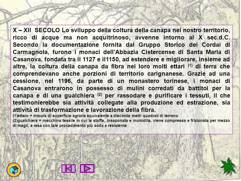X – XII SECOLO Lo sviluppo della coltura della canapa nel nostro territorio, ricco di acque ma non acquitrinoso, avvenne intorno al X sec.d.C. Secondo